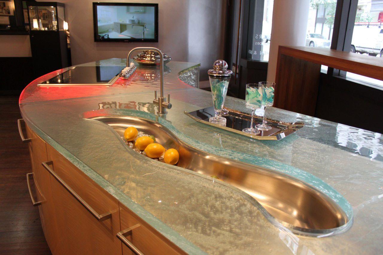 столешница из стекла для кухни