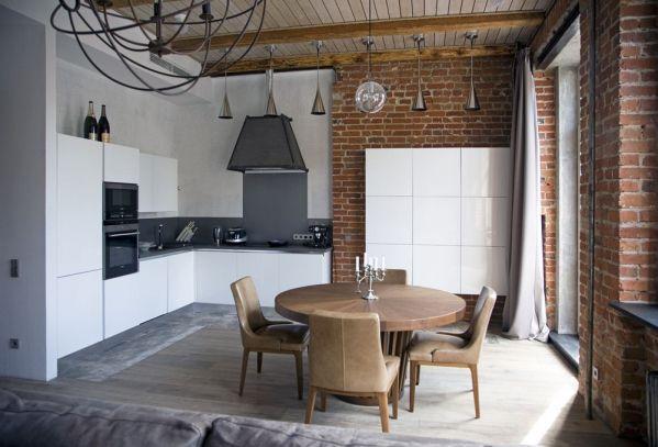 лофтовый интерьер кухни в стиле ЛОФТ